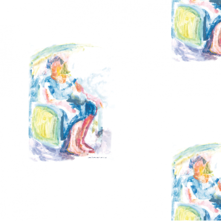 17688 | Sitting woman 1 - watercolour pattern