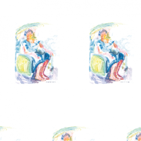 Tkanina 17689 | Sitting woman 2 - watercolour pattern