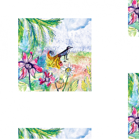 Fabric 17751 | Paradise bird 1 watercolour pattern