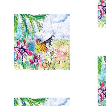 Tkanina 17751 | Paradise bird 1 watercolour pattern