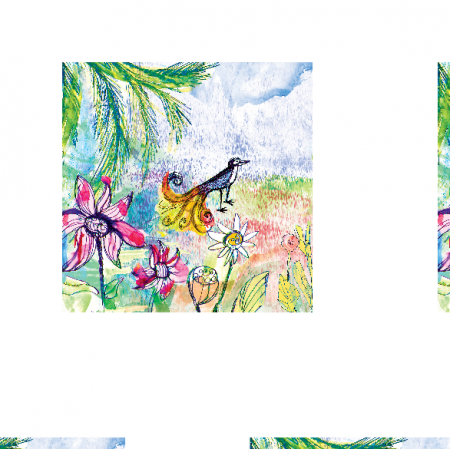 Tkanina 17752 | Paradise bird 2 watercolour pattern