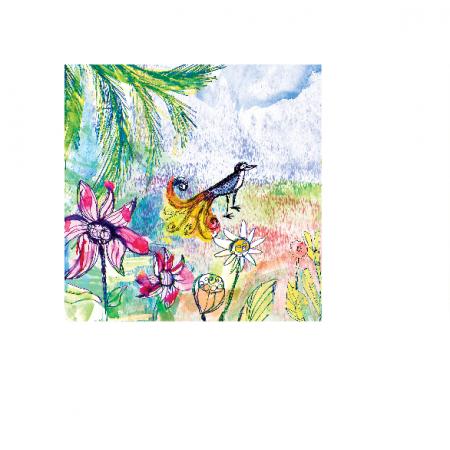 Tkanina 17753 | Paradise bird 3 watercolour pattern