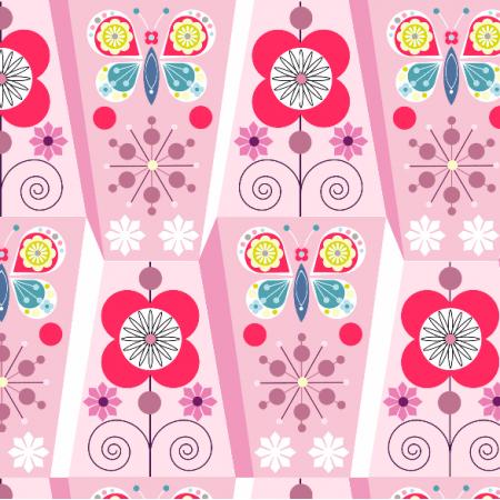 Tkanina 1941 | flowers on pink
