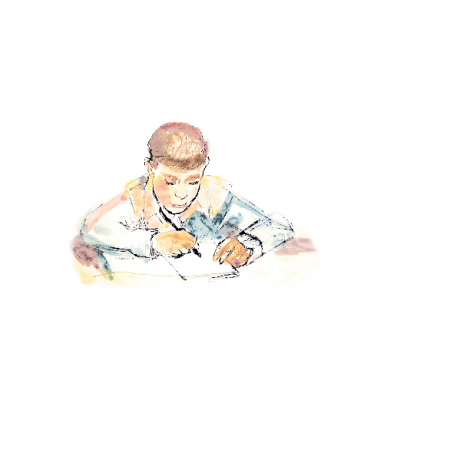 Fabric 17818 | Schoolboy 2 - watercolour pattern