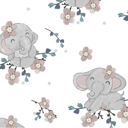 Tkanina 17834 | Słoniki i kwiaty