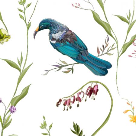 Tkanina 17849 | BIRDS IN FLOWERS | PTAKI  W KWIATACH