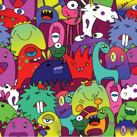 Tkanina 17870 | Wszytkie potwory tego świata :)