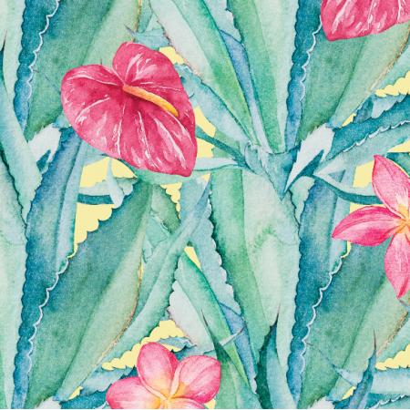 Tkanina 17899 | Aloes i Rozowe kwiaty