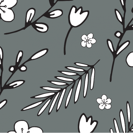 Fabric 18012 | Doodle Flowers Grey