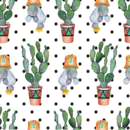 Tkanina 18039 | Kaktusy i kropki
