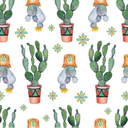 Tkanina 18040 | Kaktusy i kwiatki
