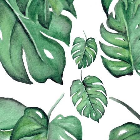 Fabric 18041 | Zielone monstery na białym tle