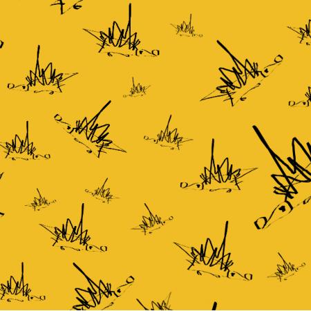 Fabric 18068 | rysowane Jeże na Żółtym tle