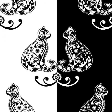18235 | folkowe koty Small B/W