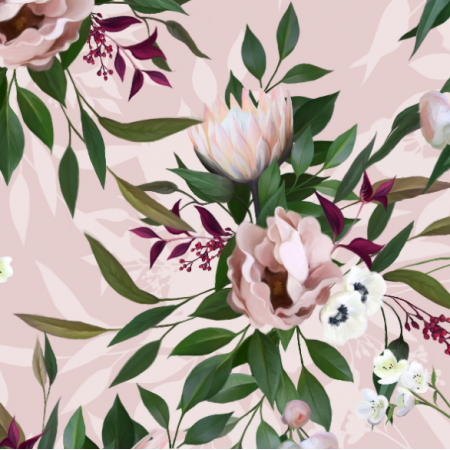 Fabric 18274 | PINK BOUQUET WITH PROTEA