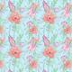 Fabric 18300 | protea i eukaliptus niebieski