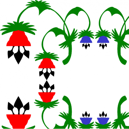 Fabric 18451 | kwiaty czerwone i niebieskie