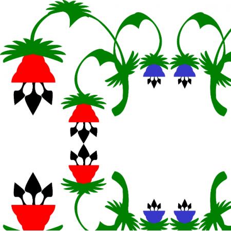 Tkanina 18451 | kwiaty czerwone i niebieskie