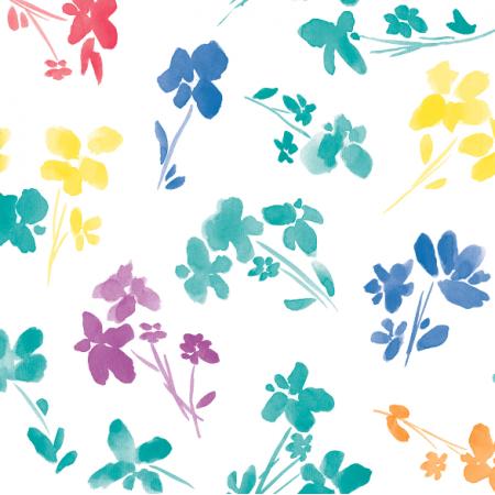 Fabric 18460 | Kwiatki kolorowe na białym tle