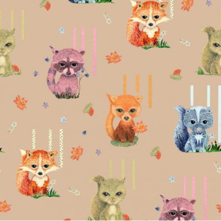 Fabric 18634 | Zwierzaki rysowane z puszystymi ogonami