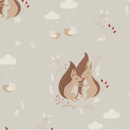 Fabric 18696 | Cuddled Squirrels