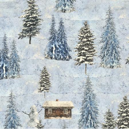 Tkanina 18830 | zima w lesie