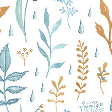 Fabric 18846 | jesienne listki biel