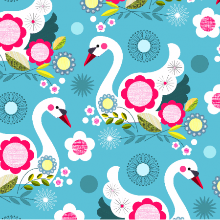 Fabric 2048 | swans on light blue