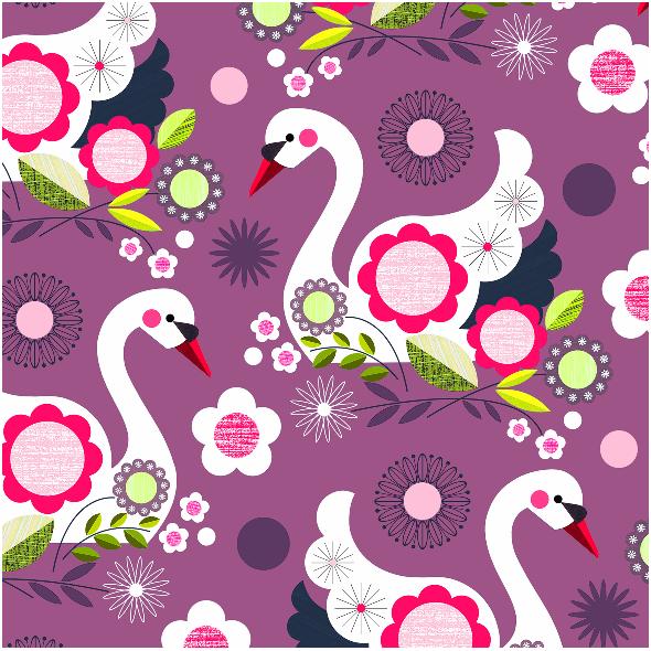 Tkanina 2053 | violet swans