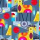 Tkanina 2054 | blue horses