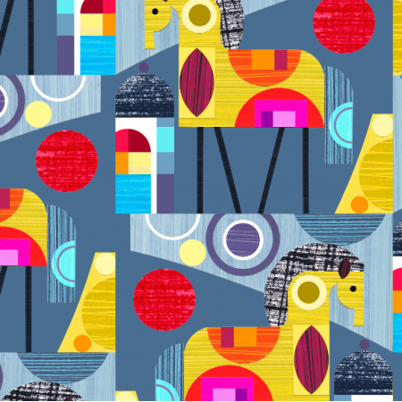 Fabric 2054 | blue horses