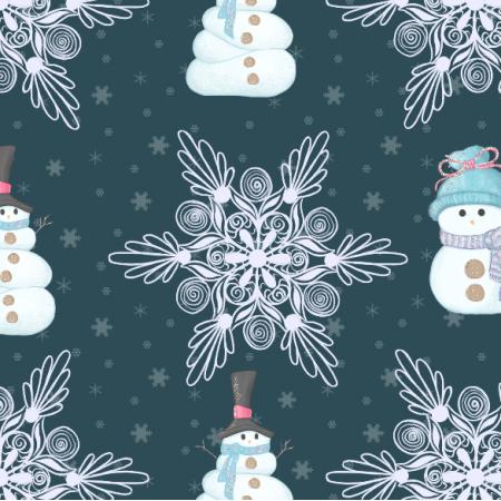 Fabric 19020 | balwanki i sniezki dark blue -xl