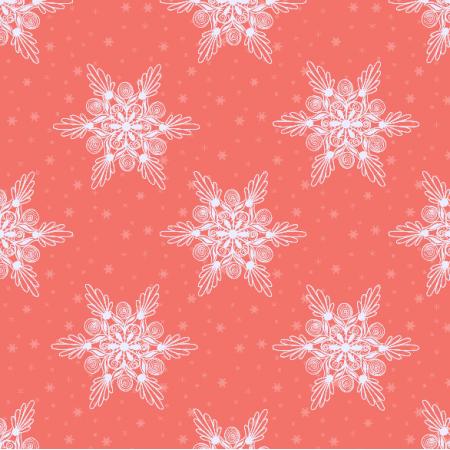 Tkanina 19025 | sniezynki coral medium