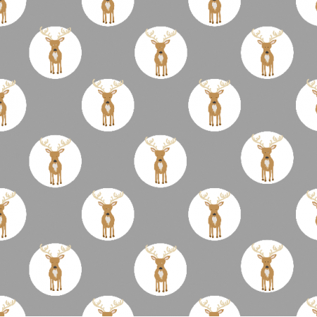 Fabric 19028 | reniferki na grey small