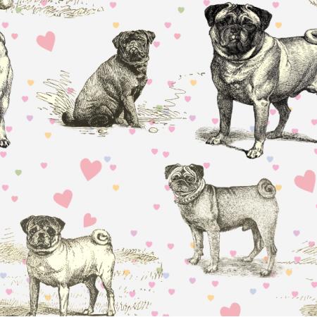 Tkanina 19036 | MOPSY I SERDUSZKA NA BIAŁYM - PUG DOGS & HEARTS ON WHITE