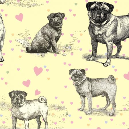Fabric 19038 | LOVE PUGS - PSY MOPSY I PASTELOWE SERDUSZKA