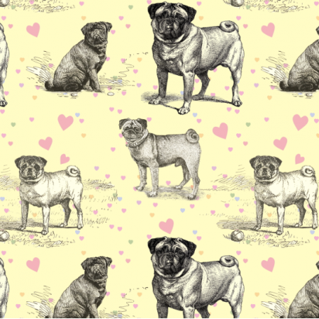 Fabric 19039 | PUG DOGS & PASTEL HEARTS - MOPSY NA ŻÓŁTYM TLE