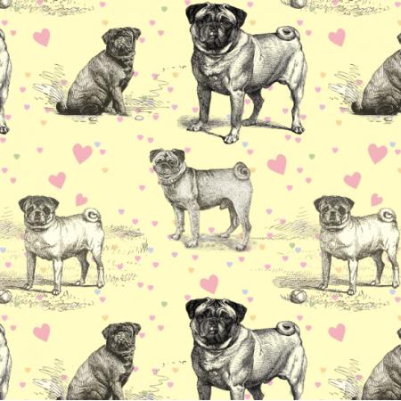 Fabric 19039 | PUG DOGS & PASTEL HEARTS - MOPSY NA ŻÓŁTYM TLE