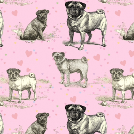 Fabric 19040 | PUG DOGS ON PINK - PSY MOPSY NA RÓŻOWYM