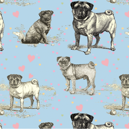 Fabric 19041 | PUG DOGS, Hearts & BLUE SKY