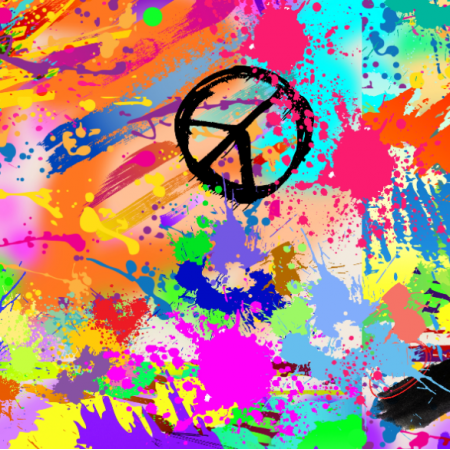 19098 | PEACE & LOVE - HIPPIE ABSTRACT PAINTING