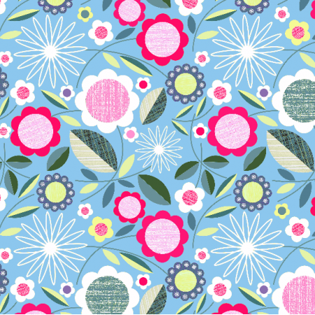 Fabric 2067 | flowers on blue