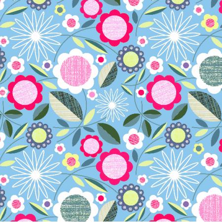 Tkanina 2067 | flowers on blue