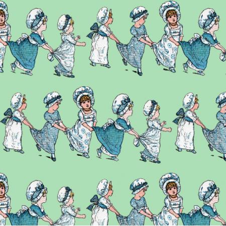 Fabric 19119 | Dziewczynki Retro Na Miętowej Zieleni