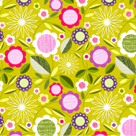 Fabric 2068 | flowers on green