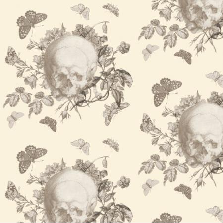 Tkanina 19218 | Vanitas - Motyw z Czaszką kremowe Tło