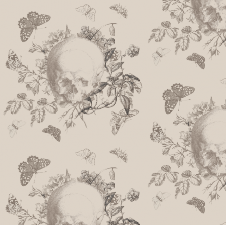 Fabric 19220 | Vanitas - CZASZKI KWIATY I MOTYLE BEZOWE TŁO