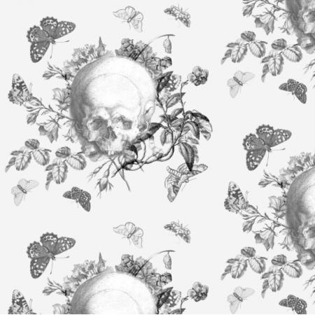 19223 | Vanitas - CZASZKI KWIATY I MOTYLE CZARNO BIAŁE