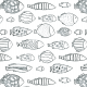 Fabric 19230 | charcoal hand drawn fishes seamless pattern