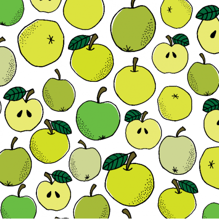 19232 | Green and yellow hand drawn apples seamless pattern